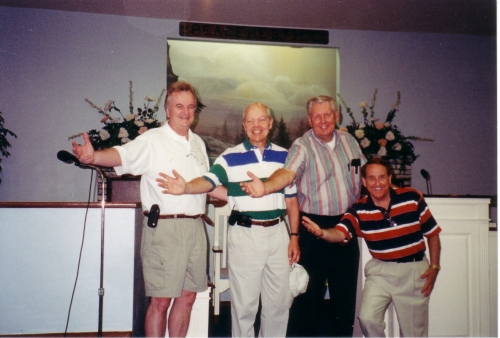RE-ENACTING THEIR SR. MINSTREL NUMBER ARE: HOWARD HUMPHREYS, JOHN KOSKINEN, DALE GRIFFITH AND SUB - BILL MARTIN- IN FOR